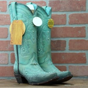 Corral Turquoise Embroidery & Studs Boots
